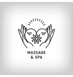 Massage and spa therapy logo template thin vector