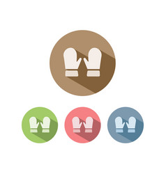 mittens icon on colored circles vector image vector image