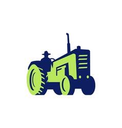 Organic Farmer Driving Vintage Farm Tractor vector image vector image