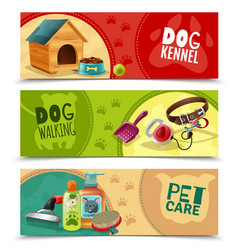 Pet care 3 horizontal banners set vector