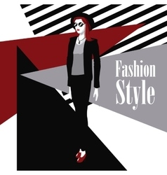 poster wo black suit red lipstick fashion style vector image vector image