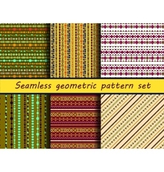 Seamless geometric peruvian pattern set vector