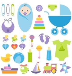 set of baby boy elements vector image vector image