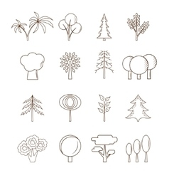 Thin line Tree Set vector image