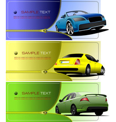 Three banners with zipper open car vector