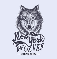 wolf new york label vector image vector image