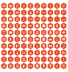 100 touch screen icons hexagon orange vector