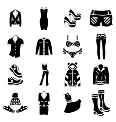 Woman clothes icons set simple style vector image