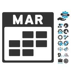 March calendar grid icon with bonus vector