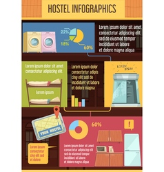 Hostel infographics flat template vector