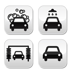 Car wash buttons set - vector