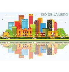 Rio de janeiro skyline with color buildings vector