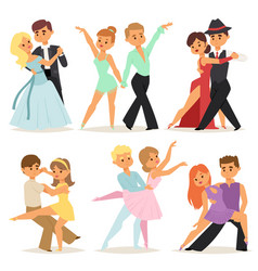Dancing couples romantic person and people dance vector