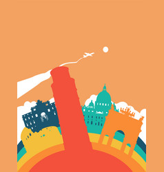 Travel italy world landmark landscape vector