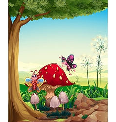 A big mushroom near the tree with butterflies vector