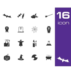 black halloween icons set on white background vector image
