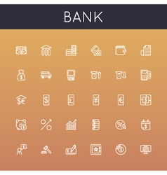 Bank line icons vector