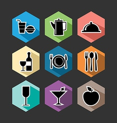 Food flat icons set vector