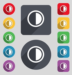 Contrast icon sign a set of 12 colored buttons and vector