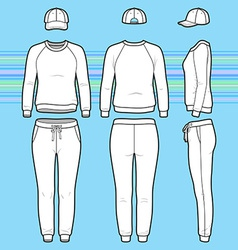 Sweatshirt cap and sweatpants set vector