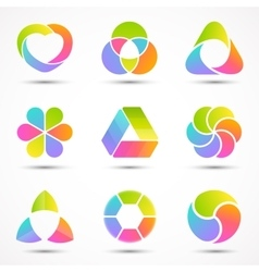Logo templates set modern abstract circle vector