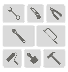 Monochrome icons with tools related vector