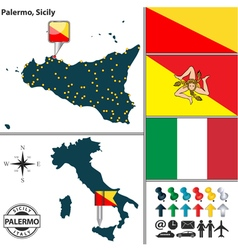 Map of palermo in sicily vector
