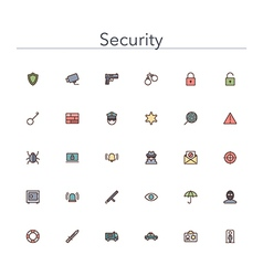 Security colored line icons vector