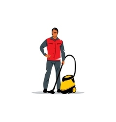 Cleaning service sign Man with a vacuum cleaner vector image