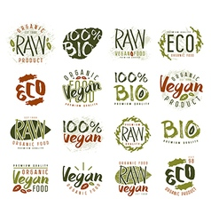 Raw vegan labels badges and design elements vector