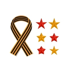 Set st george striped black orange ribbon and vector