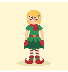 Elf christmas glasses girl vector