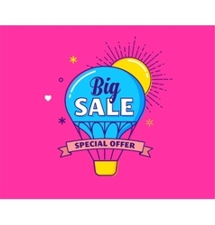 Big sale - colorful banner hot air balloon vector image