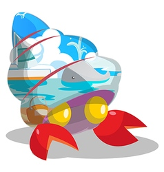 Beach sea inside shell cartoon vector