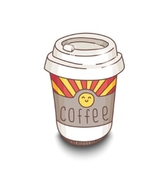 Cute hand-drawn cartoon style coffee cup with vector