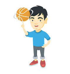 Asian boy spinning basketball ball on finger vector