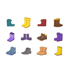 boots icon set cartoon style vector image