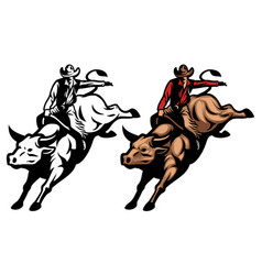 bull riding vector image