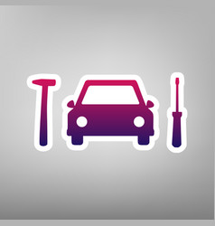Car tire repair service sign purple vector