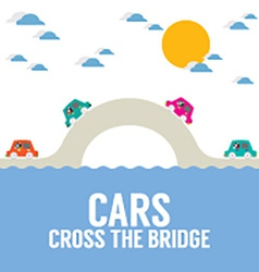 Cars Cross The Bridge Over The River vector image vector image