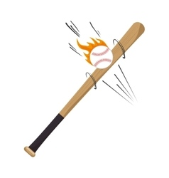 cartoon bat ball flame baseball icons vector image
