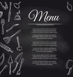 chalkboard menu poster with kitchen utensils vector image