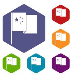 China flag icons set hexagon vector