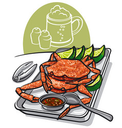 Cooked seafood crabs vector