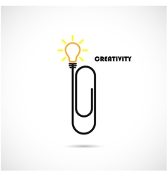 Creative paper clip and light bulb logo vector