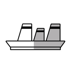Cruise ship travel maritime line shadow vector