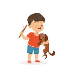 Cute bully boy teasing little dog hoodlum vector
