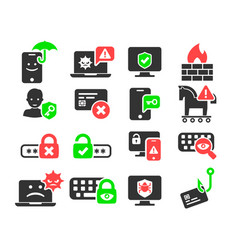cyber security and threat icons set vector image