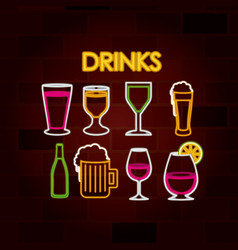 drinks set of neon sign on brick wall vector image