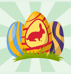 Easter eggs painted with spring decoration retro vector
